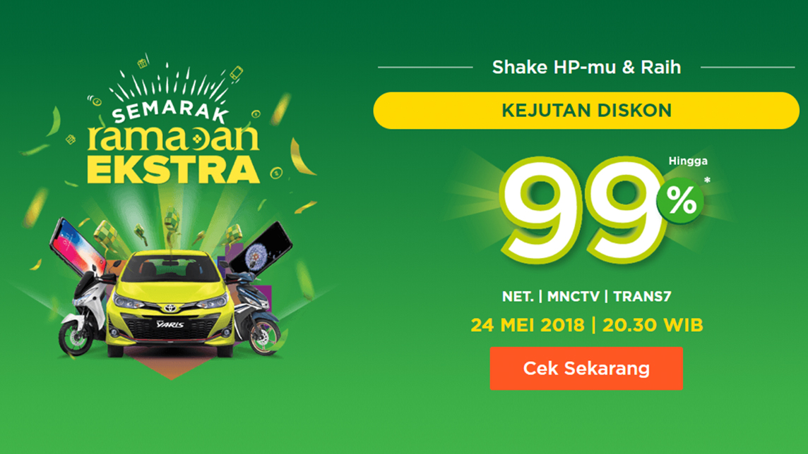 Tokopedia's Ramadan discount program involved a televised event, boasting up to 99 percent discounts.